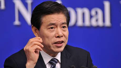 El secretario de Comercio de China, Zhong Shan, en Pekín, el 11 de marzo de 2018.