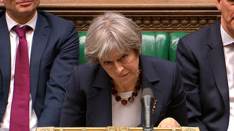 La primera ministra del Reino Unido, Theresa May, en la Cámara de los Comunes, en Londres, el 14 de marzo de 2018.