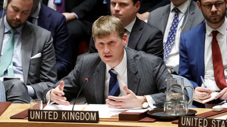 El representante permanente adjunto del Reino Unido ante la ONU, Jonathan Allen, Nueva York, 14 de marzo de 2018.