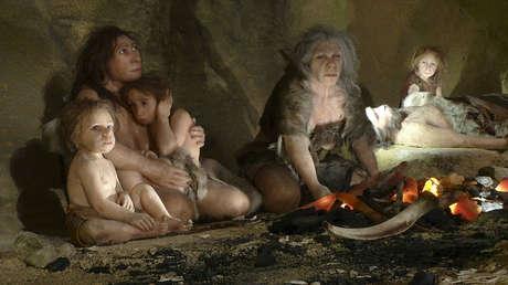 Pintura expuesta en el Museo del Neandertal en Krapina, Croacia. 25 de febrero de 2010.