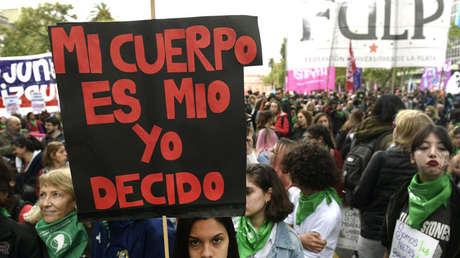 Mujeres en una manifestación a favor del aborto, Buenos Aires, Argentina, 29 de septiembre de 2017.