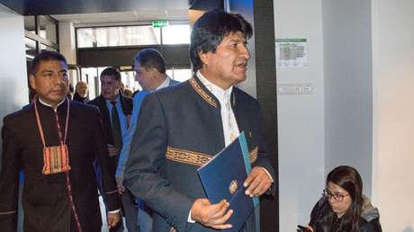 El presidente boliviano, Evo Morales, a su salida del Tribunal de La Haya. Países Bajos, 19 de marzo de 2018.
