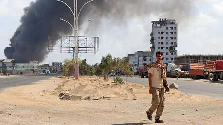 Un soldado del Consejo de Transición del Sur en la ciudad de Adén en Yemen, el 30 de enero de 2018.