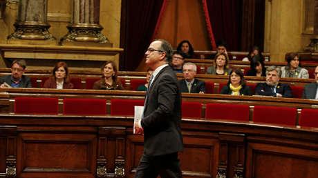 Jordi Turull antes de su discurso en la sesión de investidura. Parlamento catalán, Barcelona, 22 marzo 2018.
