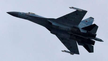 Un caza Su-35 ruso durante una demostración en las afueras de Moscú, Rusia, el 21 de julio de 2017.