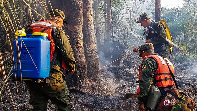 FOTOS, VIDEO: Ejército de Nicaragua detiene el avance de un incendio en reserva forestal