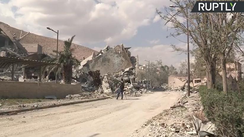 VIDEO: Primeras imágenes desde uno de los objetivos del ataque de EE.UU. a Siria