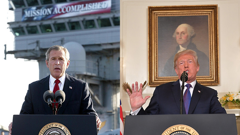 Trump aplaude ataque a Siria con la misma frase que 'persiguió' a Bush tras inicio de Guerra de Irak
