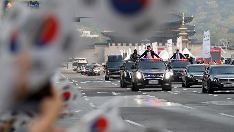El presidente surcoreano llega al punto de encuentro con Kim Jong-un