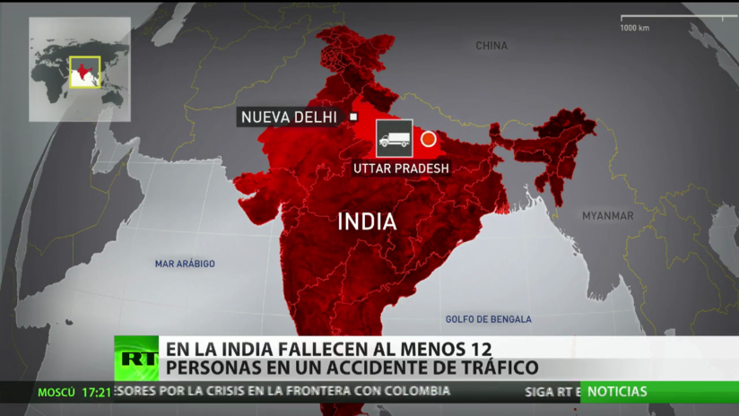 En India fallecen al menos 12 personas en un accidente de tráfico