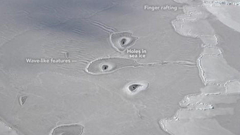 Unos misteriosos agujeros en el hielo del Ártico desconciertan a la NASA