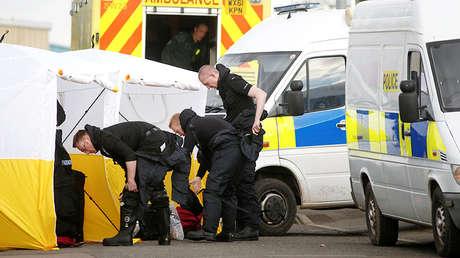 Policía en Salisbury tras el ataque contra Skripal, Reino Unido, el 13 de marzo de 2018.