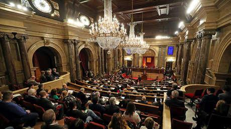 Parlamento catalán durante el pleno del 28 de marzo de 2018. Barcelona.