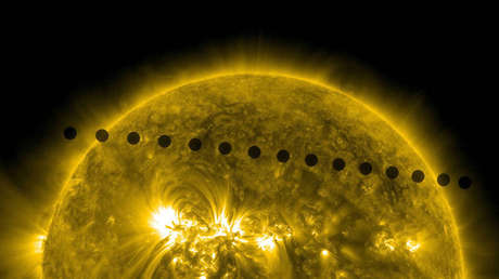 The planet Venus is seen by the sequence of images from the Sun Dynamic Observatory (SD).