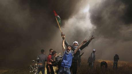 Manifestantes palestinos en una protesta al este de la ciudad de Gaza.
