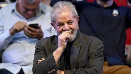 El expresidente de Brasil Luiz Inacio Lula da Silva en el lanzamiento de su pre-candidatura. Belo Horizonte, 21 de febrero de 2018.