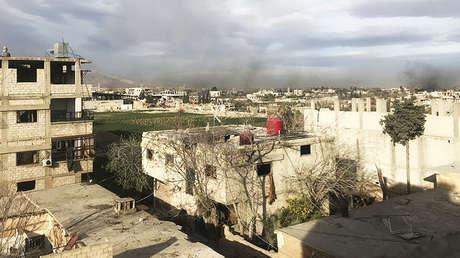 Guta Oriental, Siria, tras ataques del Ejército sirio contra las posiciones de Jabhat al Nusra, el 15 de marzo de 2018.