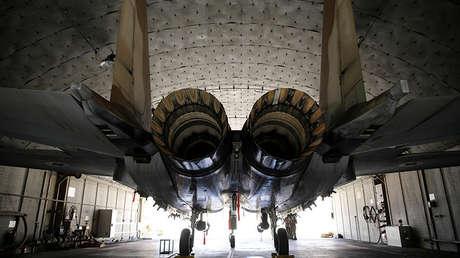 Un avión F-15 en la base aérea israelí Ovda