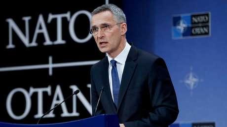 El Secretario General de la OTAN, Jens Stoltenberg, durante una conferencia de prensa en la sede de la Alianza en Bruselas, Bélgica, el 15 de marzo de 2018.