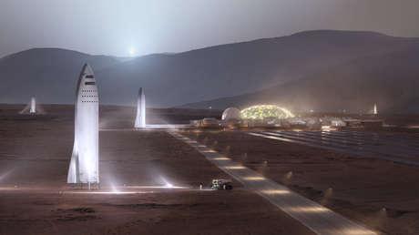 Representación de SpaceX de una misión del futuro BFR en Marte