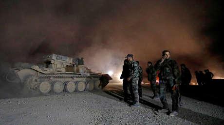 Soldados del Ejército sirio en Harasta (Guta Oriental), Siria, 22 de marzo de 2018