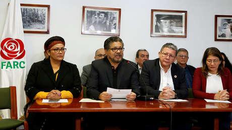 Ivan Márquez, de la FARC, durante la rueda de prensa en Bogotá (Colombia). 10 de abril de 2018.