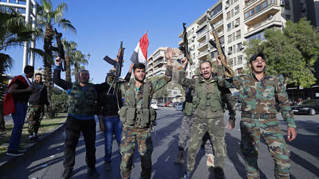 Soldados sirios, Damasco, Siria, 14 de abril de 2018.