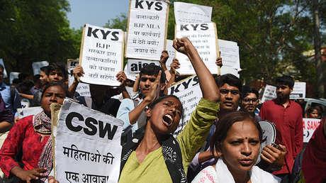 Protesta por la reacción política ante varios casos de violación, Nueva Deli, India, 12 de abril de 2018.