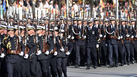 Desfile militar en el Día Nacional de España. Madrid, 12 de octubre de 2017.