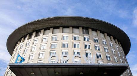 Vista exterior del edificio de la Organización para la Prohibición de las Armas Químicas (OPAQ) en La Haya, el 4 de abril de 2018.