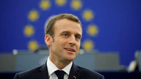El presidente francés Emmanuel Macron en el Parlamento Europeo en Estrasburgo, Francia, el 17 de abril de 2018.