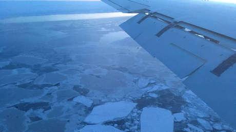 Hielo marino del océano Ártico visto desde el avión DC-8 de la NASA en enero de 2017.