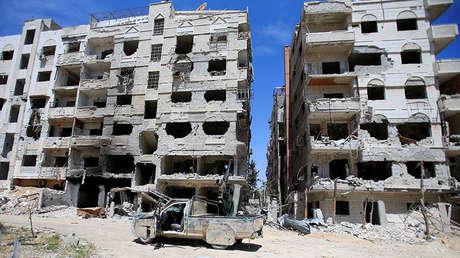 Edificios en ruinas, Duma, Siria, 16 de abril de 2018.