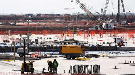 Construcción del Nuevo Aeropuerto Internacional de México en Texcoco. Fotografía tomada el 1 de febrero de 2018.