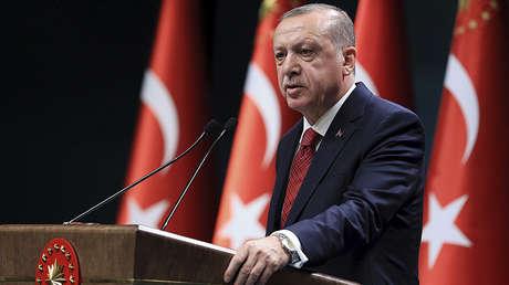 Recep Tayyip Erdogan, en una conferencia de prensa en el Palacio Presidencial en Ankara, Turquía, el 18 de abril de 2018.