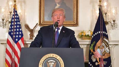 El presidente de EE. UU., Donald Trump durante un discurso en la Casa Blanca en Washington, DC., el 13 de abril de 2018.
