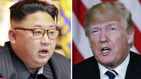Una combinación de fotos con el líder norcoreano Kim Jong-un y el presidente estadounidense Donald Trump.