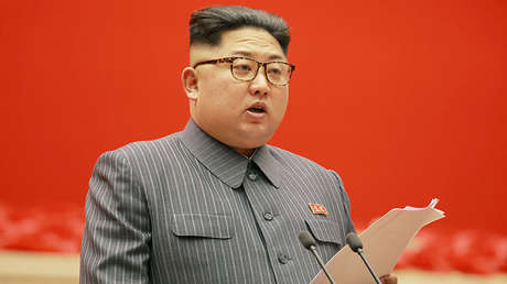 El líder norcoreano, Kim Jong-un, pronunciando un discurso en Pionyang, el 22 de diciembre de 2017.