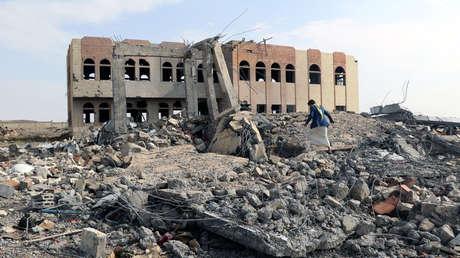 Edificios destruidos en Saada, en el norte de Yemen, el 12 de abril de 2018.