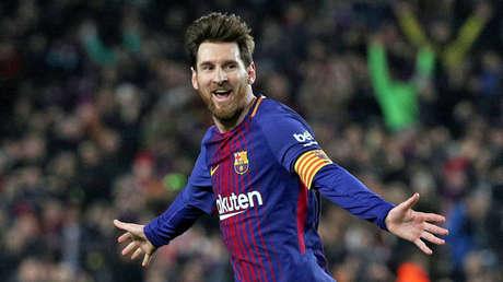 Lionel Messi durante un partido contra el Girona FC el 24 de febrero de 2018.