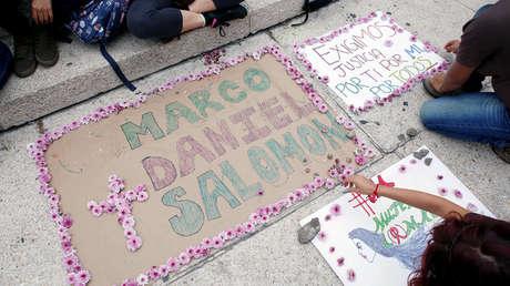 Protesta por el asesinato de los tres estudiantes de cine en Ciudad de México, 24 de abril de 2018.