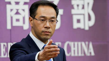 El portavoz del Ministerio de Comercio chino, Gao Feng, en una conferencia de prensa en Pekín, China, el 6 de abril de 2018.