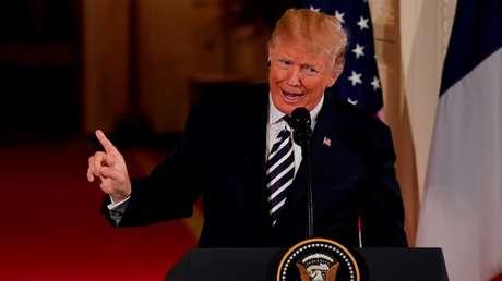 El presidente de EE.UU., Donald Trump, durante una conferencia de prensa en la Casa Blanca. Washington 24 de abril de 2018.