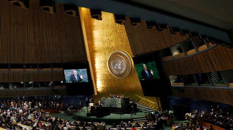 El presidente de EE.UU., Donald Trump, pronuncia un discurso ante la Asamblea General de las Naciones Unidas en Nueva York, EE. UU., el 19 de septiembre de 2017.