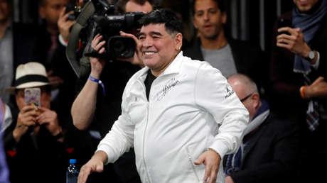 Diego Maradona durante un partido amistoso en Basilea, Suiza, 21 de marzo de 2018.