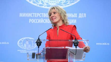 María Zajárova, portavoz del Ministerio de Exteriores de Rusia, 19 de abril de 2018.