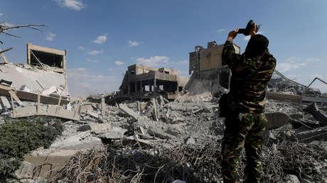 El Centro de Investigaciones Científicas de Damasco, en Siria, destruido por el ataque occidental,  el 14 de abril de 2018.