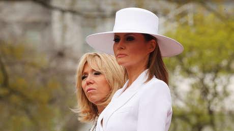 Brigitte Macron y Melania Trump en la Casa Blanca, Washington, EE.UU., 24 de abril de 2018.