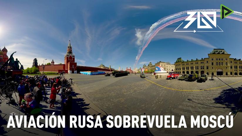 Día de la Victoria 360°: Aviones militares sobrevuelan la Plaza Roja de Moscú