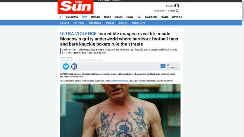 """Fotógrafo serbio cuenta a RT cómo The Sun lo engañó e inventó historia de horribles """"ultras rusos"""""""